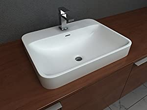 good Cantrio Koncepts ST-2318 Solid Surface Semi Recessed Sink44; 18.12 x 6.87 x 23 in.