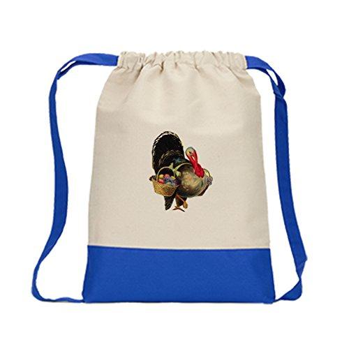 Backpack Color Drawstring Turkey And Basket Fruits Thanksgiving | Royal Blue