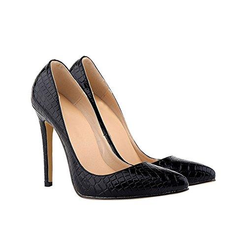 Zhuhaixmy Damen Krokodil-Korn-Muster 11CM High Heels Stilettos Schuhe Black