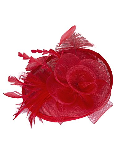 Vijiv Women Vintage Derby Fascinator Hat Pillbox Headband Feather Cocktail Tea Party,Red,One Size