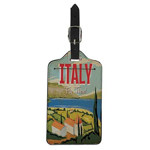Pinbeam Luggage Tag Italian Visit Italy Vintage Travel Landscape Building Cartoon Suitcase Baggage Label (Best Italian Lake To Visit)