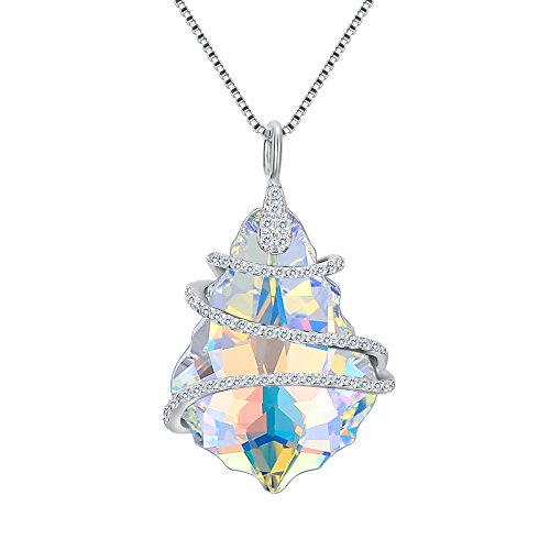EVER FAITH 925 Sterling Silver CZ Baroque Pendant Adjustable Necklace Iridescent Aurora Borealis Adorned with Swarovski Crystals