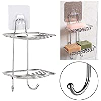 ZIZLY Wall Mounted Double Layer soap Dish Holder & Dispensers, Self-Adhesive Stainless Steel Waterproof Kitchen Bathroom Soaps Storage Rack with Hook for Home