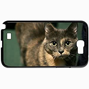 Personalized Protective Hardshell Back Hardcover For Samsung Note 2, Cat Snout Beautiful Mustache Large Eyes Design In Black Case Color