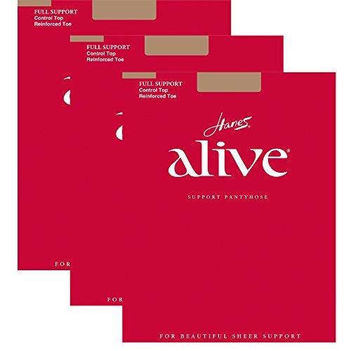 Hanes Womens Set of 3 Alive Full Support Control Top RT Pantyhose C, Barely There