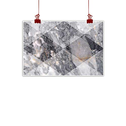- Outdoor Nature Inspiration Poster Wilderness Marble,Geometric Diamond Shaped Grunge Granite Rock Facet Forms Ceramic Abstract Print,Light Grey 36