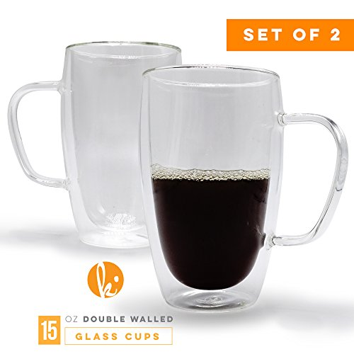 Drinking Glasses Coffee or Tea Glass Mugs Set of 2 - 15oz Double Wall Thermo Insulated Cups with Handle, Latte Cappuccino Espresso Glassware