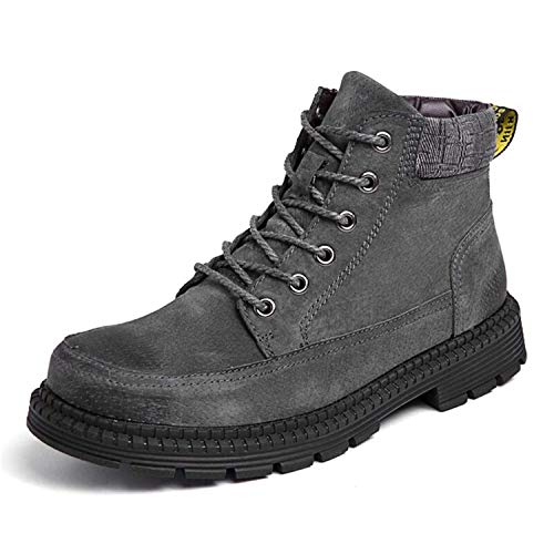Winter Ankle Boots Martin Boots Plush Warm Outdoor Working Snow Boots Men Shoes,8MUS,Grey