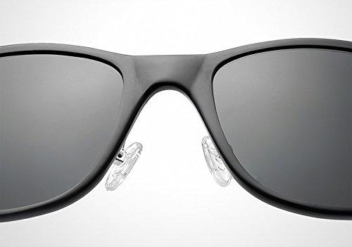 Gafas de de polarizadas clásicas gray Gafas uñas de Ruiyue unisex sol Protección sol Black vintage de UV arroz wf4q0Yg