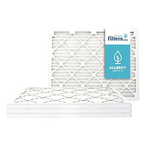 Cleaner Filters 20x25x1 Air Filter, Pleated High Efficiency Allergy Furnace Filters for Home or Office with MERV 11 Rating (4 Pack)