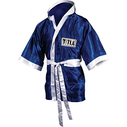 Stock Satin Robe - TITLE Stock Fingertip Robe, Royal/White, Medium