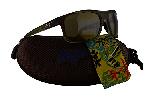 Maui Jim Byron Bay Sunglasses Matte Green Stripe Rubber w/Polarized Green Lens - Jim Sunglasses Banyans Maui