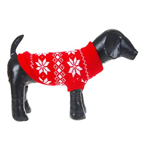 PanDaDa Puppy Pet Dog Snowflake Knit Sweater Clothes Coat Outwear Apparel Red XX-Small
