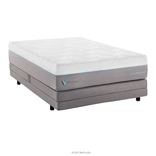 WELLSVILLE 14 Inch Gel Memory Foam Innerspring Premium Hybrid Mattress, California King, White