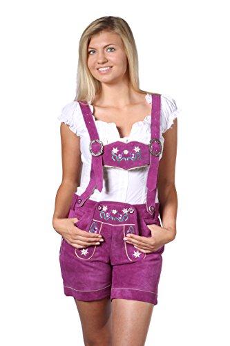 Damen Trachten Lederhose Damenhose mit Trägern aus feinstem Veloursleder in Pink, Bayrische Trachtenlederhose für das Oktoberfest Größe 34, 36, 38, 40, 42, 44, 46