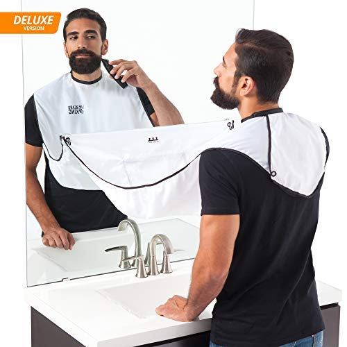 "BEARD KING - The Official Beard Bib - Hair Clippings Catcher & Grooming Cape Apron - ""As Seen on Shark Tank"" - White (Deluxe Version)"