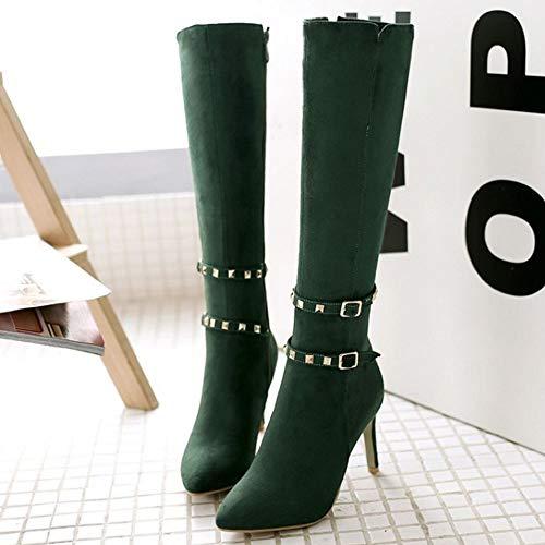 Fashion Stiletto Women Boots Zipper Green Knee Boots Melady xnS8BP77