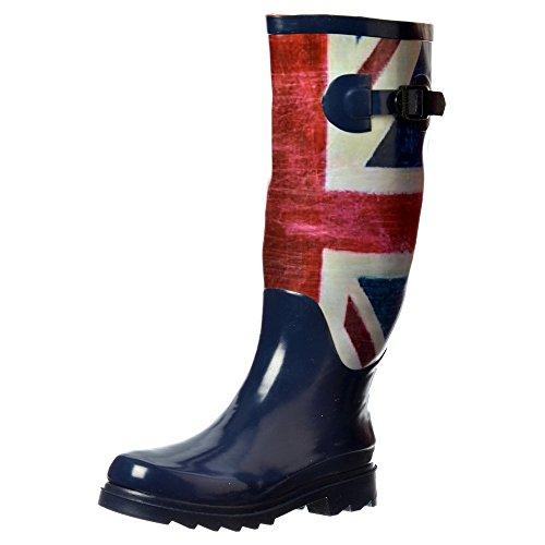 Onlineshoe Women's Funky Flat Wellie Wellington Festival Rain Boots UK5 - EU38 - US7 - AU6 Union Jack (Union Jack Heels compare prices)