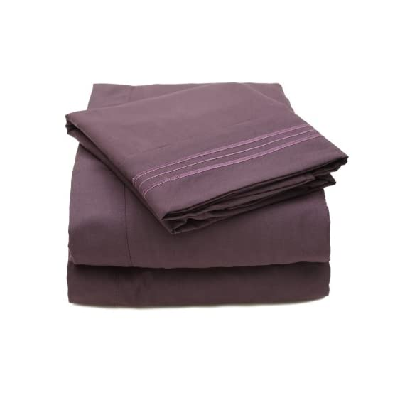 """Sweet Home Collection 4 Piece 2000 12 Colors Collection Egyptian Quality Deep Pocket Bed Sheet Set, Queen, Purple - 100% Luxury Micro Fiber Yarns 1800 Series Queen: 1 Flat (92"""" x 102"""") 1 Fitted (60"""" x 80"""") and 2 Std Pillow Cases (20"""" x 30"""") Fits mattresses up to 16"""" deep with elastic all around the fitted sheet; Machine wash in cold water with similar colors; Tumble dry low; Do not bleach - sheet-sets, bedroom-sheets-comforters, bedroom - 41iSvQDNNvL. SS570  -"""