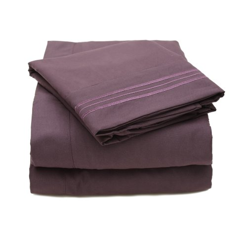 Sweet Home Collection 4 Piece 2000 12 Colors Collection Egyptian Quality Deep Pocket Bed Sheet Set, Full, Purple