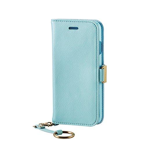 サラミスラック上エレコム iPhone7ケース [iPhone8対応] ソフトレザーケース 女子向 マグネット  ストラップ付 手帳型 ライトブルー PM-A16MPLFJMBUL