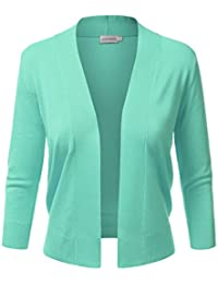 JJ Perfection Women's Basic 3/4 Sleeve Open Front Cropped...