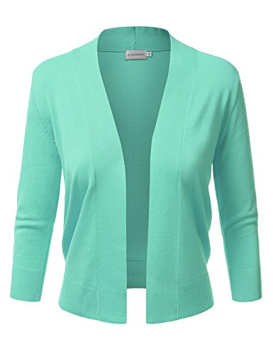 (JJ Perfection Women's Basic 3/4 Sleeve Open Front Cropped Cardigan Mint XL)