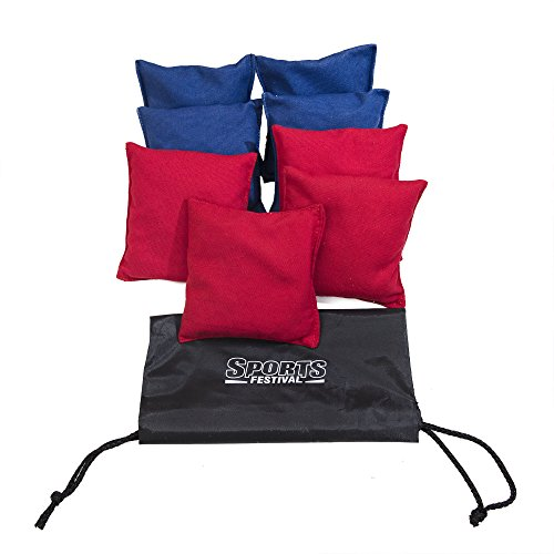 Premium Starter All-Weather Duck Cloth Cornhole Bean Bag Set Total Count 8 Tote Bag Included (Red & Blue) by Sports Festival ®
