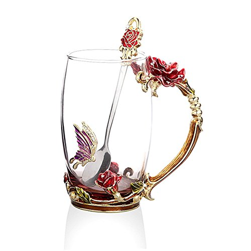 ups, Glass Coffee Cups Tea Mugs 2018 Handmade Butterfly Rose,13 oz (Rose) Ideal for Friend Wedding Anniversary Birthday Presents ()