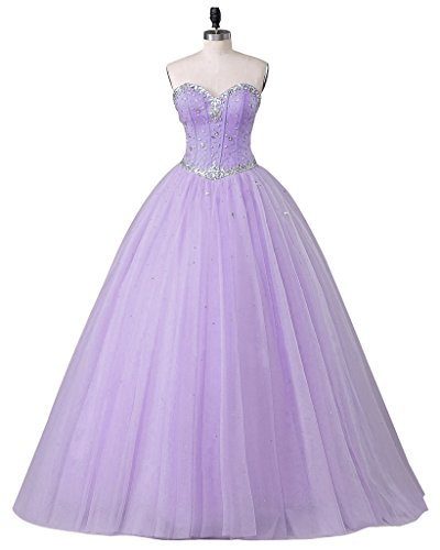 Beautyprom Women's Sweetheart Ball Gown Tulle Quinceanera Dresses Prom Dress Lavender US2