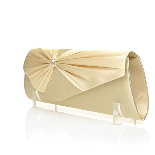 Size Satin Fold Pleated GABRIEL Over Champagne Bag Clutch Medium Gold wPfZIq