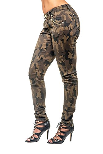 Poetic Justice Curvy Women's Camo Coated Stretch Twill Gold Zipper Skinny Jeans Size 26 x 32Length