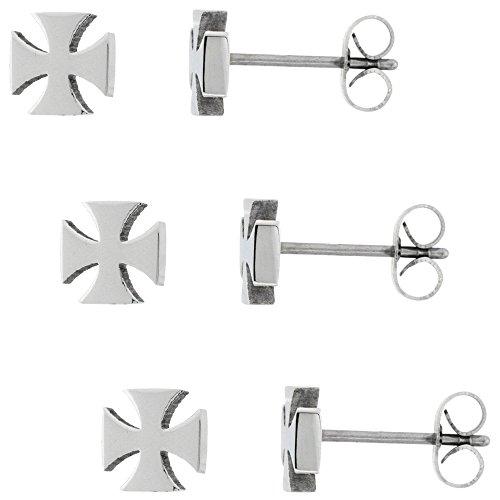 3 PAIR PACK Small Stainless Steel Maltese Cross Stud Earrings 1/4 (Steel Maltese Cross)