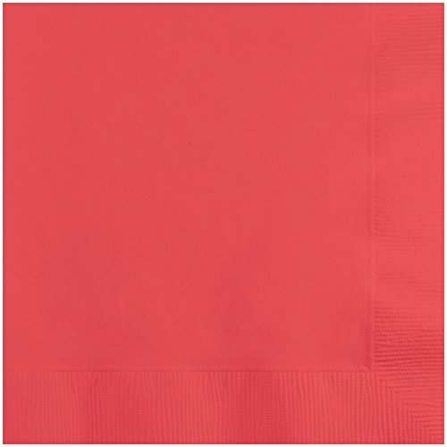 (Creative Converting 573146B Personalized Coral Wedding Cocktail Napkins (50 Count),)