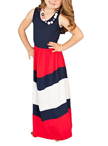 Red White And Blue Outfits (Parent-Child Dress, Mommy and Me Maxi Long Dress Family Clothes Color Block Stitching Matching Dress Cover Up (Daughter-L(7-8T), Blue&Red&White))