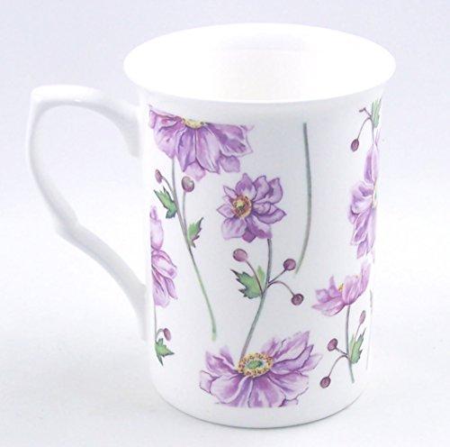 Fine English Bone China Mug - Purple Anemone Daisy Chintz - England (Made England Tea Cup Daisy)