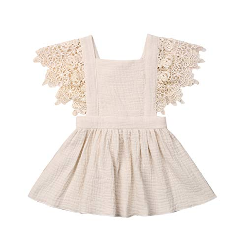 Toddler Baby Girl Infant Comfy Cotton Linen Lace Princess Overall Dress Sundress (Beige, 3-4T)