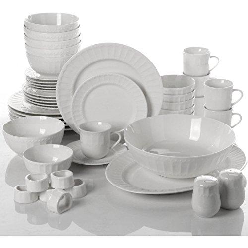 46-Piece Elegant Ceramic White Dinnerware and Serveware Set by Gibson Dinnerware Collection