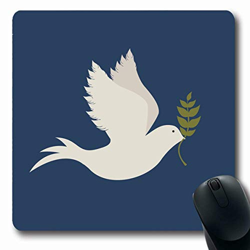 (Ahawoso Mousepads for Computers Olive Dove Peace Over Blue Pigeon September Branch Love Bird Design Spiritual Oblong Shape 7.9 x 9.5 Inches Non-Slip Oblong Gaming Mouse Pad)