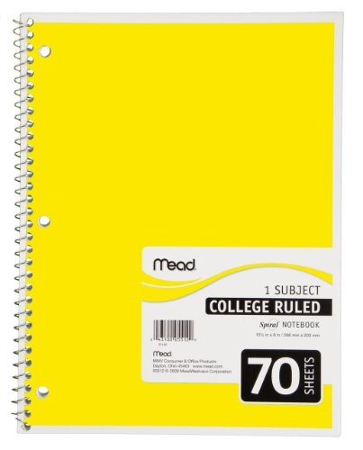 Mead Spiral Notebook, 1 Subject, College Ruled, Yellow (72217)