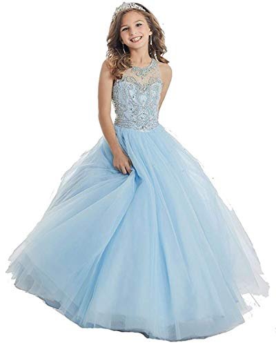 HuaMei Girls Princess Tulle Beaded Straps Ball Gowns Flower Girl Pageant Dresses 12 US Baby Blue ()