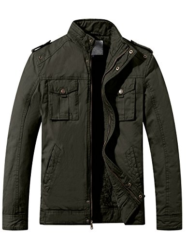 Twill Cotton Stand Collar Thicken Jacket(Army Green,Large) (Army Green Mens Military Jacket)