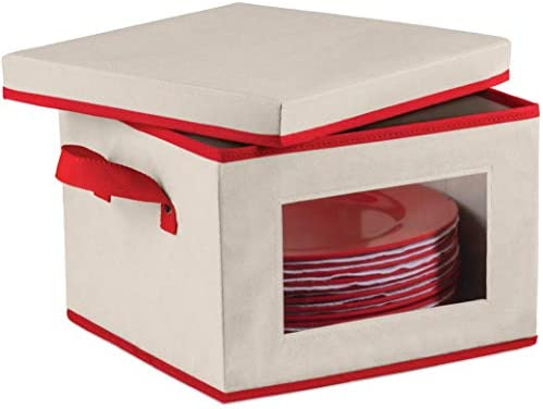 Christmas Dinnerware Storage Box with Lid and Handles, Storage Bin for Dinner Plates Comes with Felt Protectors For Plates, Features Clear Window For Easy Visibility, China Case Holds - Service for 12