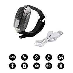 B90 Bluetooth Smart Watch Speaker Hands-Free Call Self-Timer with FM Radio Alarm Clock MP3 Player Micro SD Card Slot + Free 124GB Micro SD Card + Free USB Charger Plug (Grey)