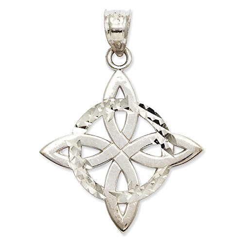 Or blanc 14 carats massif poli Mabelle Pendentif Trinity - Dimensions 32,5 x 23.3 mm