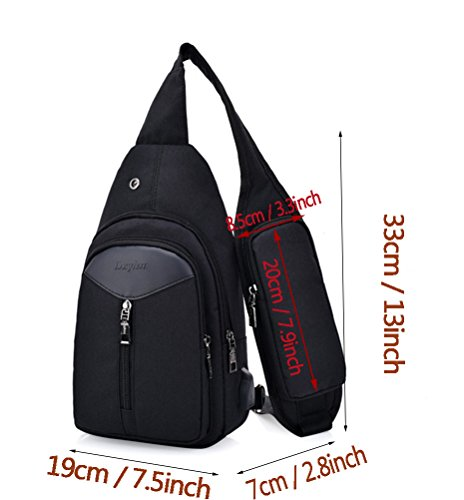Cloth Mingmo Crossbody Usb Black Sling Port Chest Backpack Bag Oxford Packs For Men With Charging Women Triangle Shoulder 7q7XwrSx6