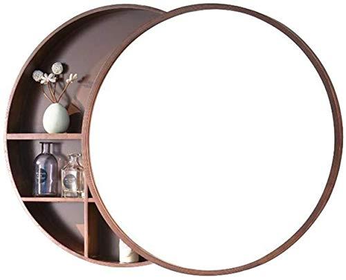 JIANGLI Round Bathroom Mirror Cabinet, Wall-Mounted Stainless Steel Frame Locker Slidable Mirror - Mirrors Bathroom Beech Cabinet
