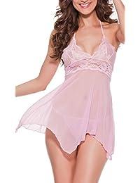 Dawafa Women Sexy Strap Backless Sleepwear Lace Nightwear Mesh Babydoll Wire Lingerie