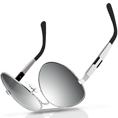 e36f2495aa DUCO Aviator Style Oversize Polarized Sunglasses For Outdoor Sports Fishing  Golf UV Protection 3026 Silver Frame Mirror Lens