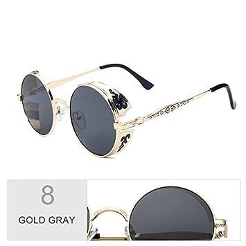 TL-Sunglasses Zurück Punk Sonnenbrille Unisex Classic Design Sonnenbrille Frau Hot Sale von Runden Legierung Sonnenbrille alte Zeit Eyewear, Silber Silber
